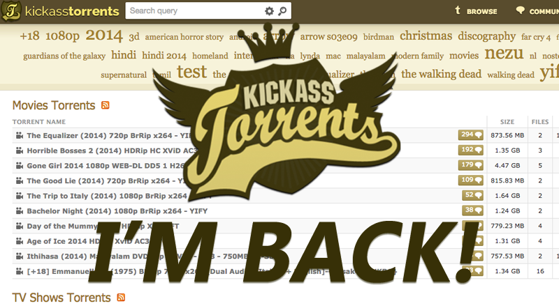 KickassTorrents Is Finally Back With a New Domain Katcr.co