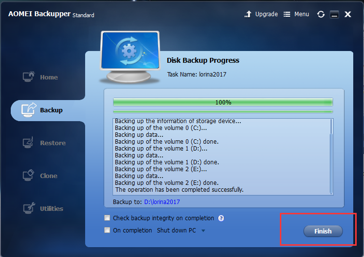 Realize Disk Backup with AOMEI Backupper 4.6.1 3