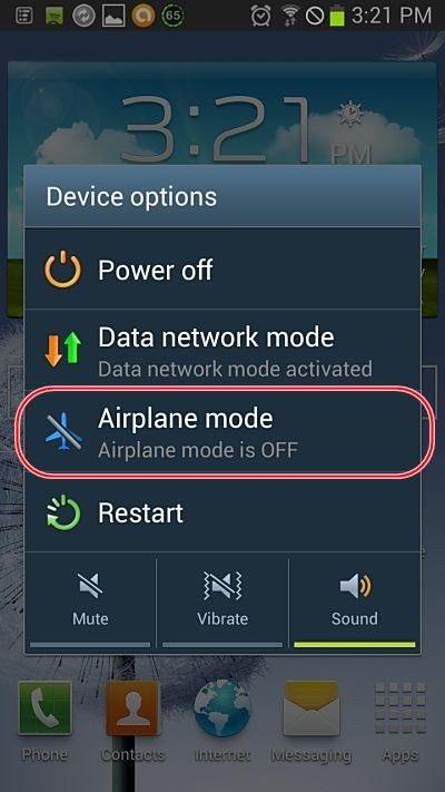 mobile network not available airplane mode off