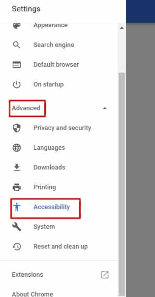 Click on 'Advanced' option and then on 'Accessibility'