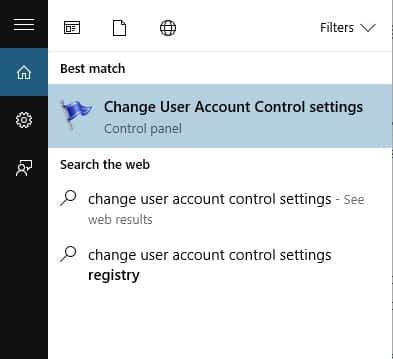 Type 'Change User Account Control Settings' & open the first option