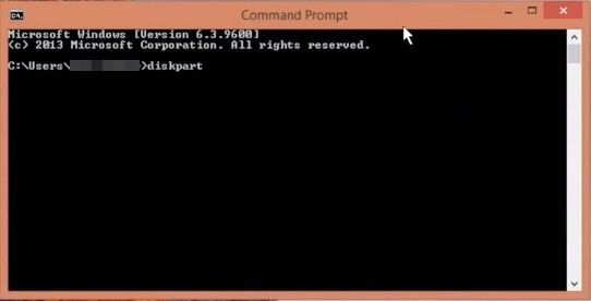 Type in 'diskpart' on CMD