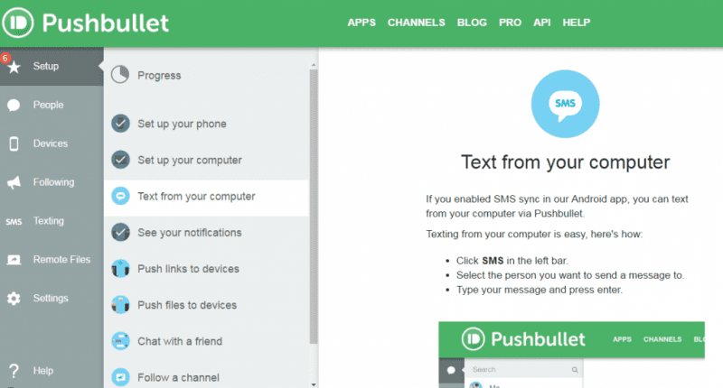 Pushbullet's interface