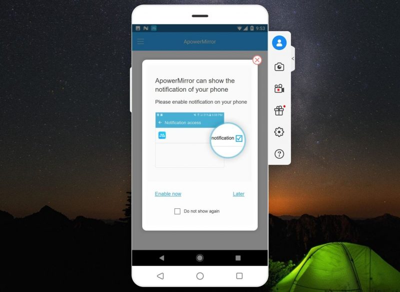 Tap on 'Start Now' button on Android