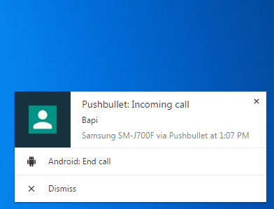Incoming call notification