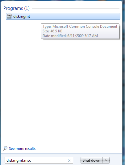 Type in 'Diskmgmt.msc' on the search bar and open disk management