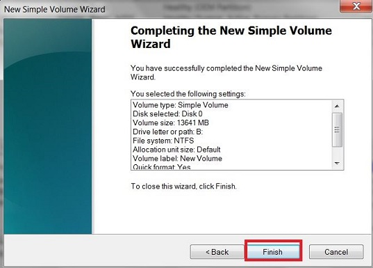 Click on 'Finish' to end the new simple volume wizard