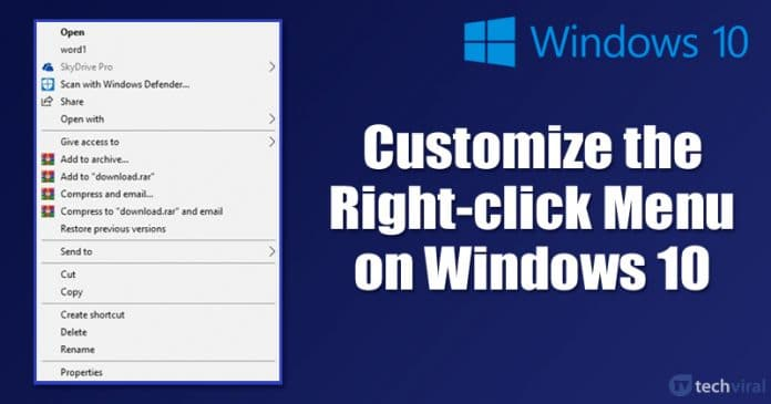 How to Customize the Right-click Menu on Windows 10 PC